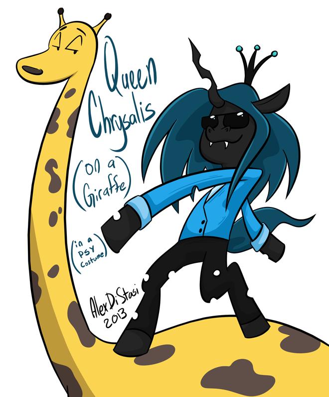 Kat's Korner 182: Queen Chrysalis in a PSY costume on a giraffe